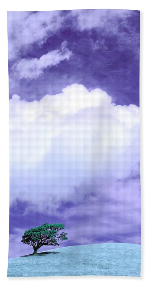 Tree Hand Towel featuring the photograph Tree Clouds Hill by Mal Bray