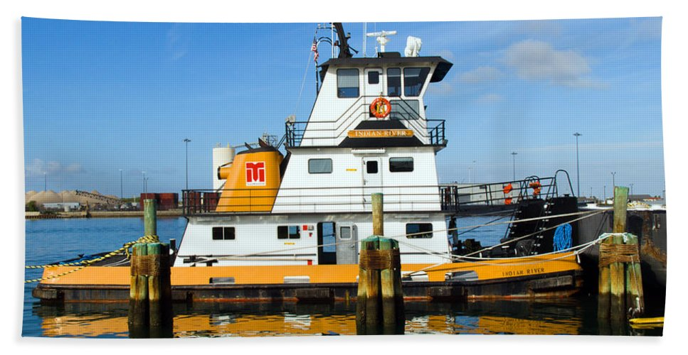 Florida; East; Space; Coast; Tug; Boat; Tugboat; Tow; Towboat; Pusher; Pushes; Push; Cargo; Fuel; Oi Hand Towel featuring the photograph  Tug Indian River Is Part Of The Scene At Port Canvaeral Florida by Allan Hughes