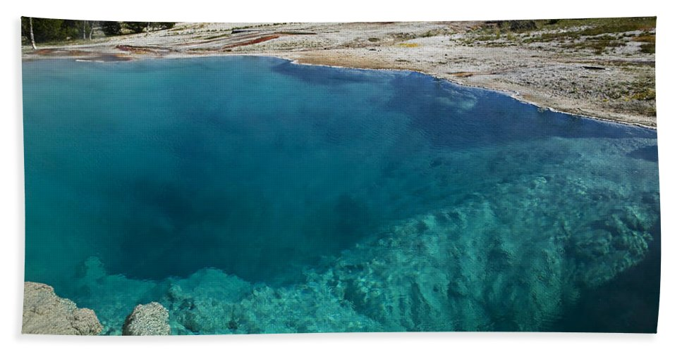 Hot Bath Towel featuring the photograph  Turquoise Hot Springs Yellowstone by Garry Gay