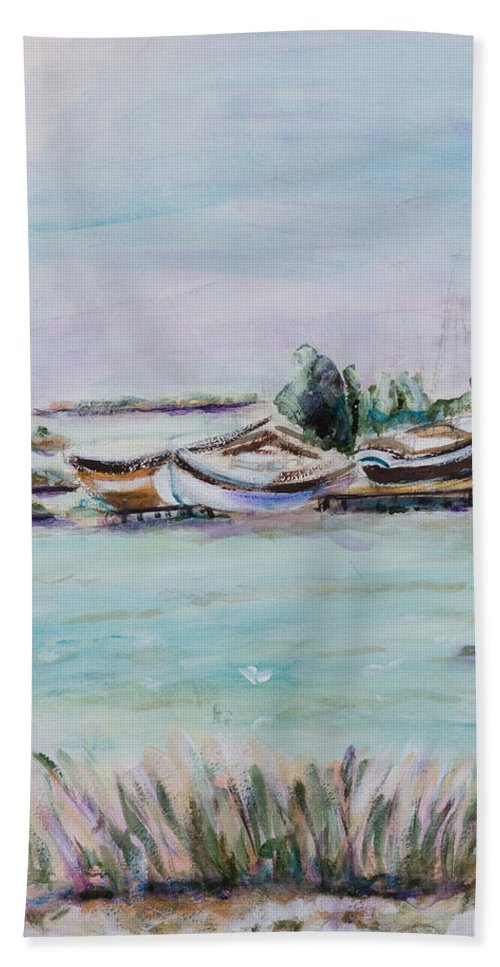 Interior Bath Sheet featuring the painting Venice Lagoon by Miriam