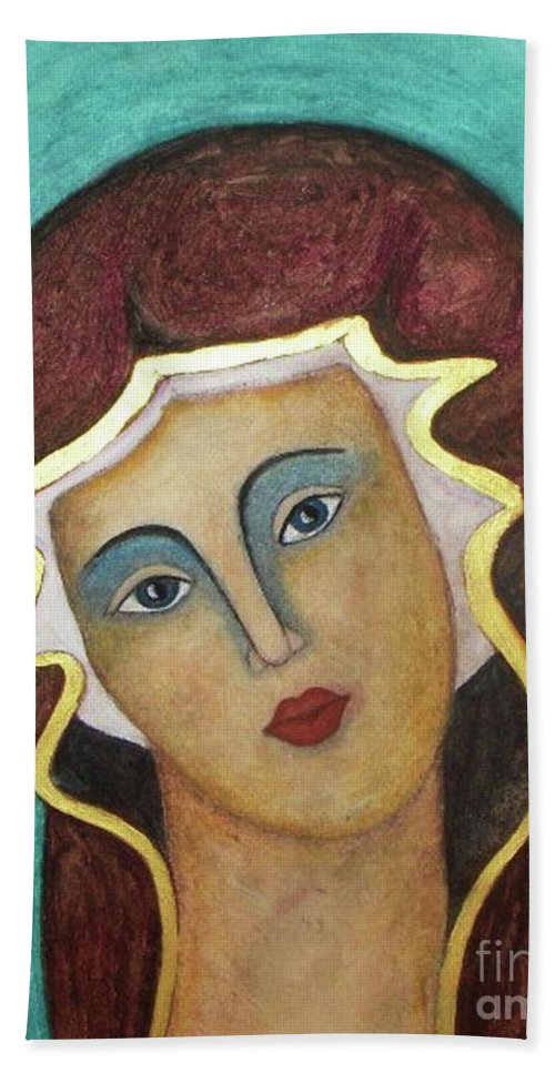 Virgin Mary Bath Sheet featuring the painting Virgin Mary by Vesna Antic