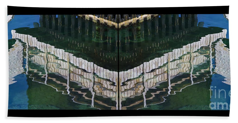 Water_reflection Hand Towel featuring the photograph Water Reflection Twofold by Heiko Koehrer-Wagner