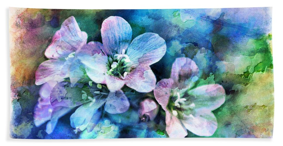 Tiny Hand Towel featuring the photograph Wildflowers 5 - Polemonium Reptans - Digital Paint 4 by Debbie Portwood