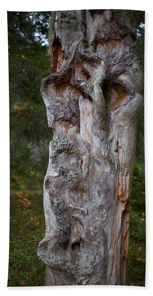 Lehtokukka Bath Sheet featuring the photograph Wooden Face by Jouko Lehto