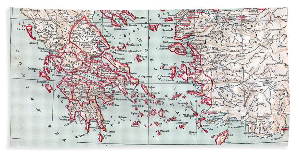 19th Century Hand Towel featuring the painting Map: Ancient Greece by Granger