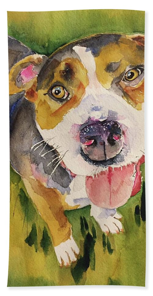 Dog Bath Sheet featuring the painting Bull by Bonny Butler