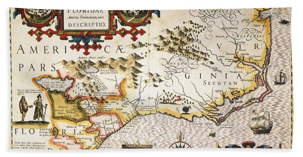 1606 Hand Towel featuring the painting Map: Colonial America, by Granger