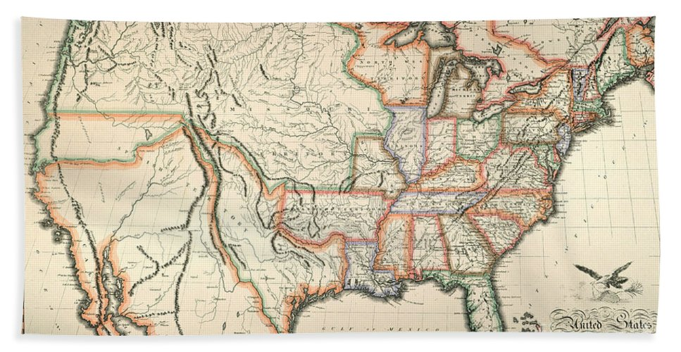 1820 Hand Towel featuring the painting Map: United States, 1820 by Granger
