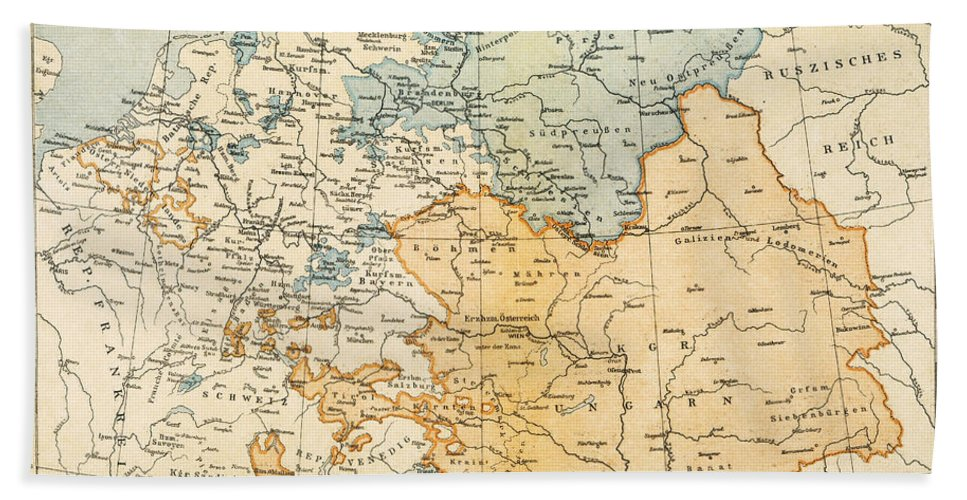 1795 Hand Towel featuring the painting Austrian Empire Map, 1795 by Granger