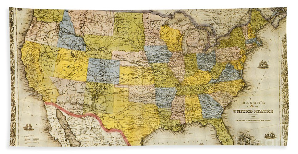 1866 Hand Towel featuring the painting United States Map, 1866 by Granger