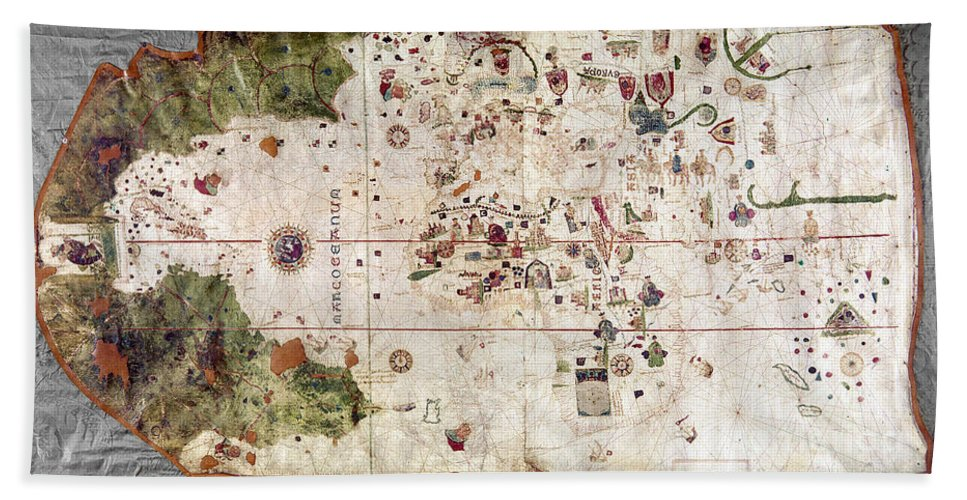 1500 Hand Towel featuring the painting Nina: World Map, 1500 by Granger