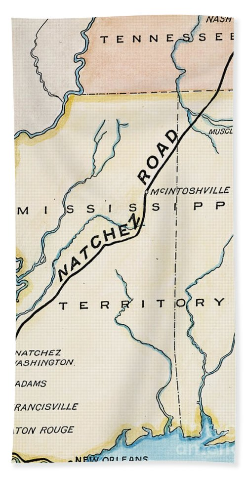 1816 Hand Towel featuring the painting Natchez Trace, 1816 by Granger