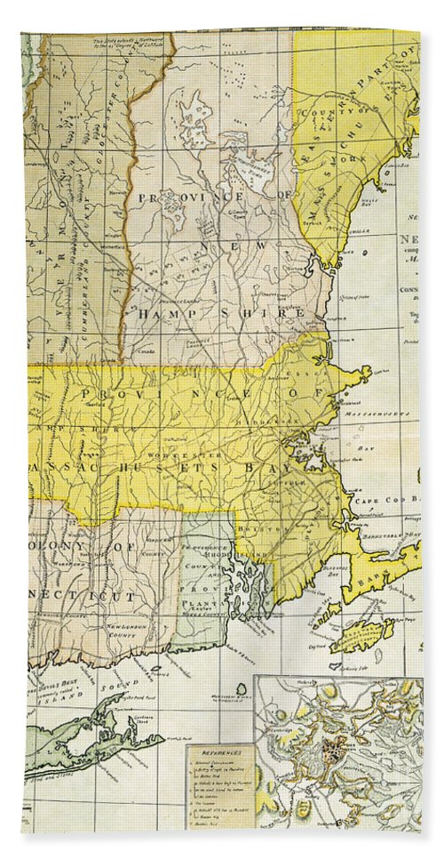 1775 Hand Towel featuring the painting New England Map, C1775 by Granger