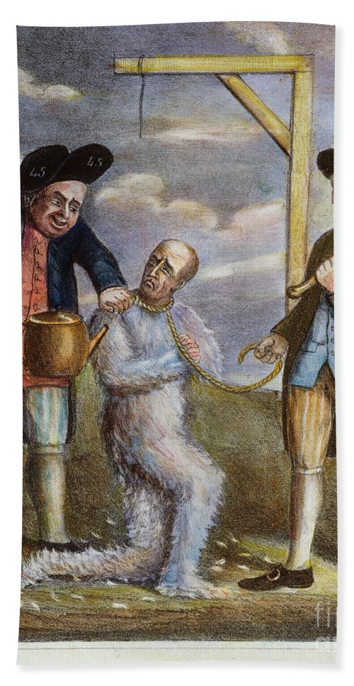 1774 Bath Sheet featuring the painting Tarring & Feathering, 1774 by Granger