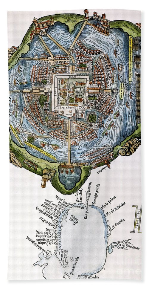 1524 Hand Towel featuring the painting Tenochtitlan (mexico City) by Granger