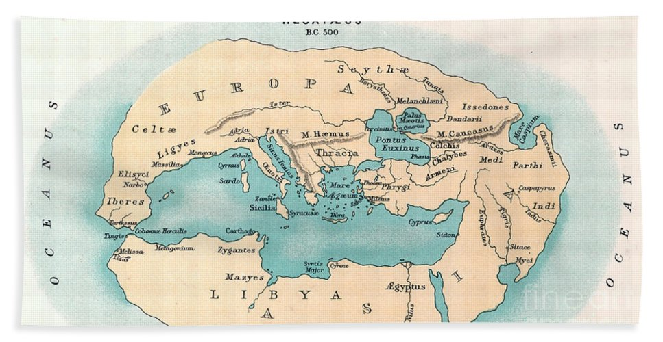 500 B.c. Hand Towel featuring the painting World Map: 500 B.c by Granger