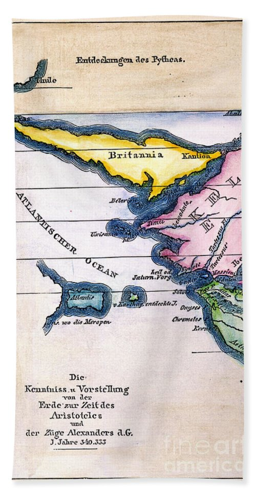 1831 Hand Towel featuring the painting Atlantis: Map, 1831 by Granger
