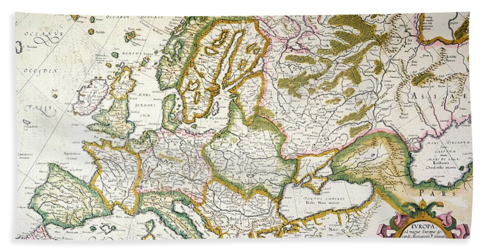 1623 Hand Towel featuring the painting Map Of Europe, 1623 by Granger