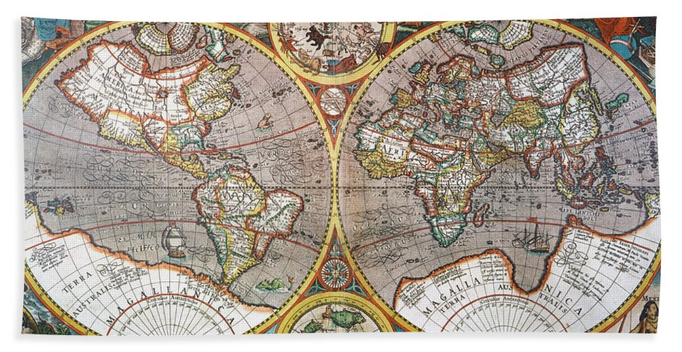 1594 Hand Towel featuring the painting World Map, 1607 by Granger