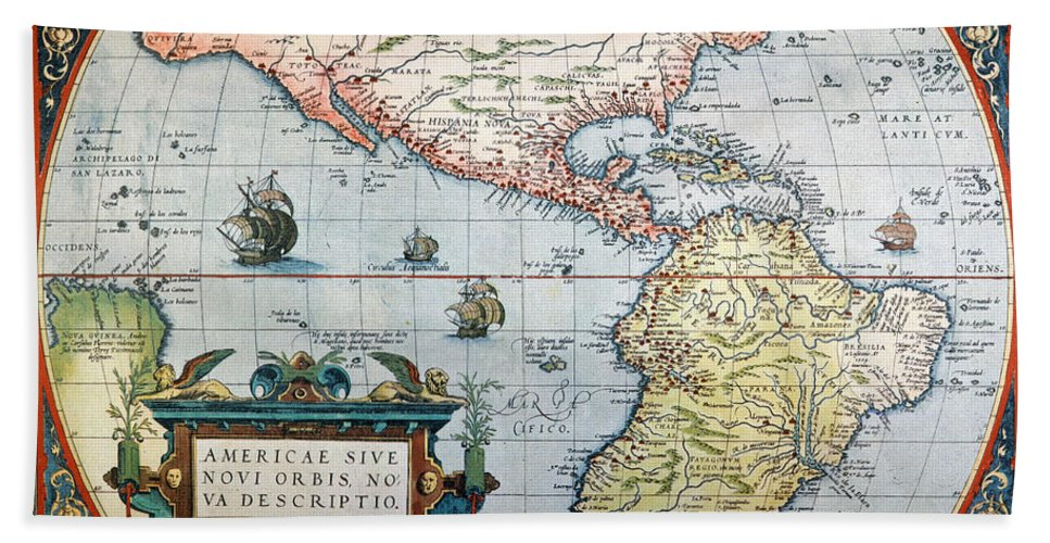 1570 Hand Towel featuring the painting New World Map, 1570 by Granger