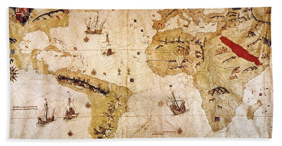 1526 Hand Towel featuring the painting Vespucci's World Map, 1526 by Granger