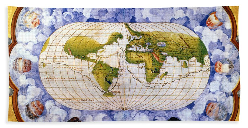 1545 Hand Towel featuring the painting World Map by Granger