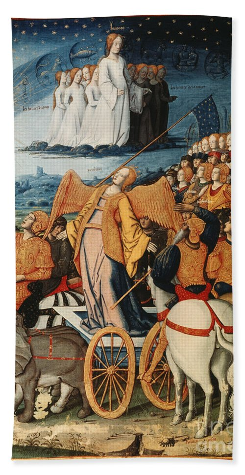 14th Century Hand Towel featuring the painting Illumination: Petrarch by Granger