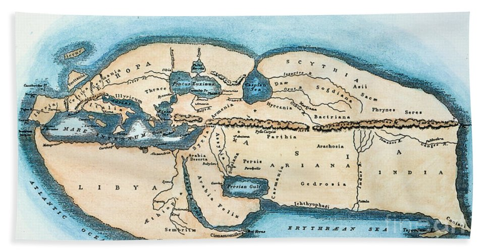 1st Century Hand Towel featuring the painting Strabo World Map, C20 A.d by Granger