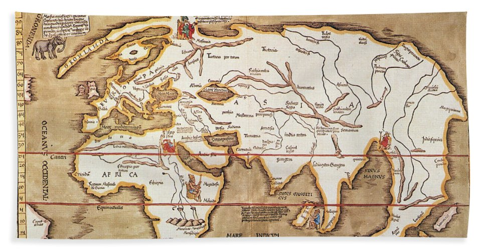 1535 Hand Towel featuring the painting Waldseemuller: World Map by Granger