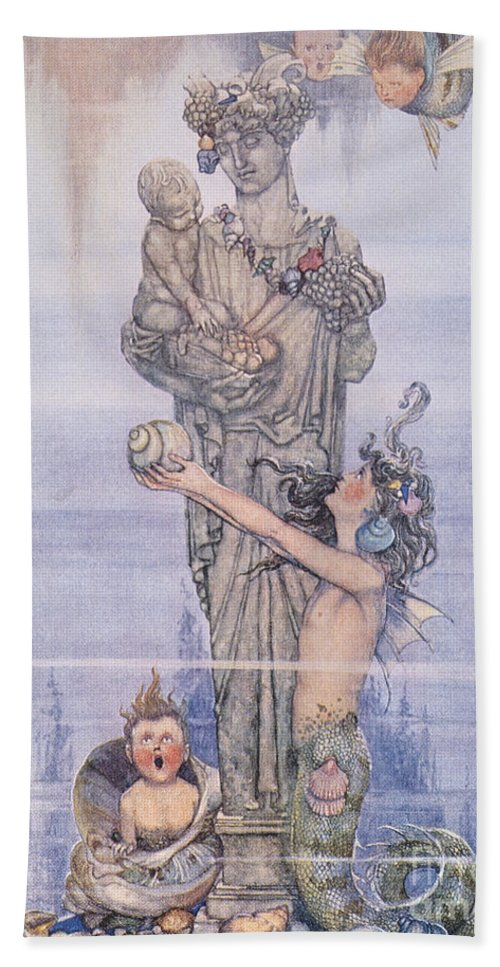 1913 Hand Towel featuring the painting Andersen: Little Mermaid by Granger