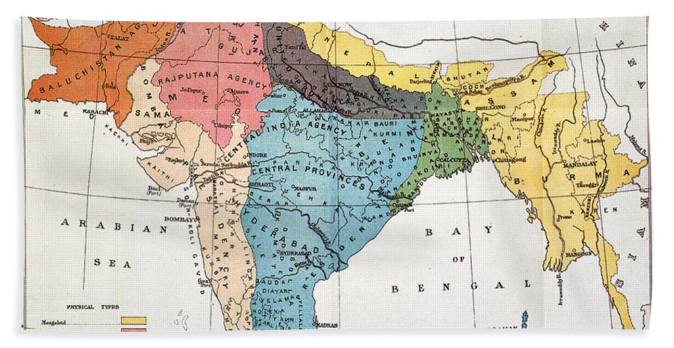 Aod Hand Towel featuring the painting India: Map, 19th Century by Granger