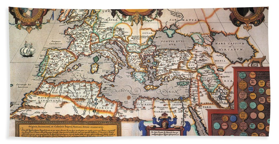 1595 Hand Towel featuring the painting Map Of The Roman Empire by Granger