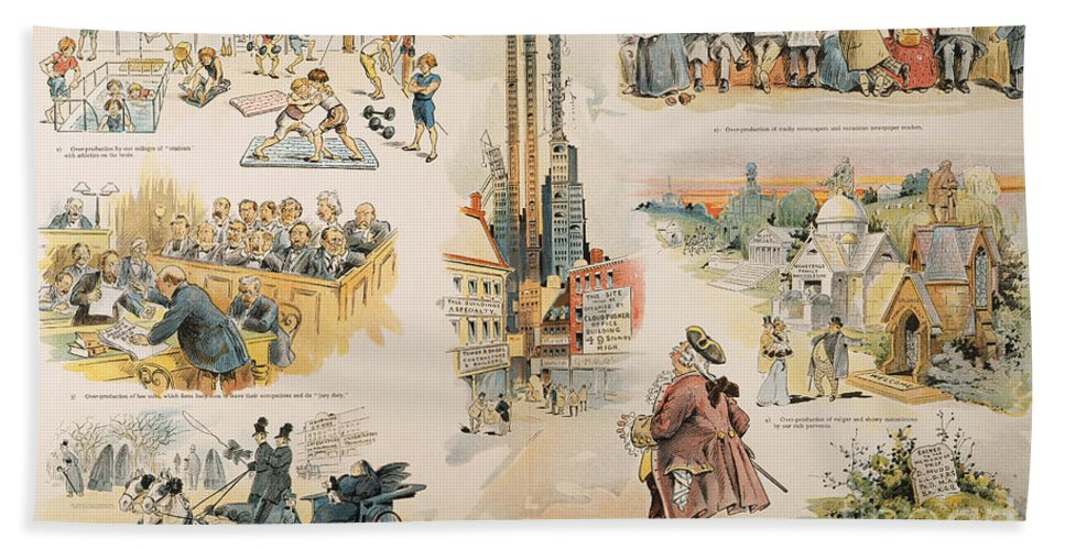 1896 Hand Towel featuring the painting Overproduction Cartoon by Granger