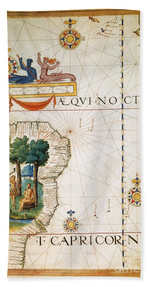 1565 Hand Towel featuring the painting Brazil: Map And Native Indians by Granger