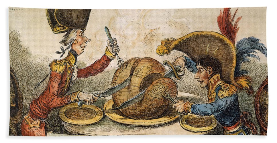 1805 Hand Towel featuring the painting Napoleon Cartoon, 1805 by Granger