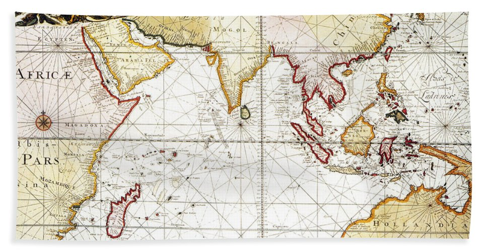 1705 Hand Towel featuring the painting Indian Ocean: Map, 1705 by Granger