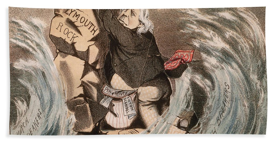 1885 Hand Towel featuring the painting Beecher Cartoon, 1885 by Granger