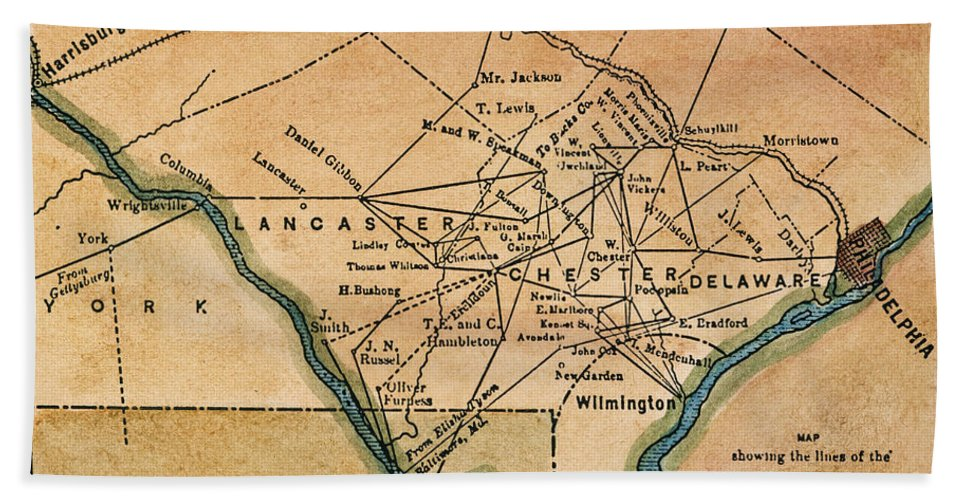 19th Century Hand Towel featuring the painting Underground Railroad Map by Granger