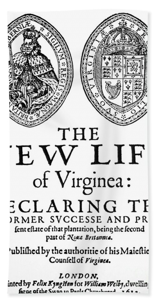 1612 Hand Towel featuring the painting Virginia Tract, 1612 by Granger