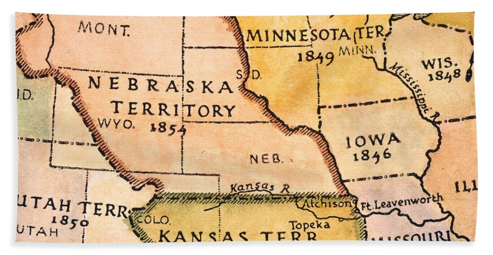 1854 Hand Towel featuring the painting Kansas-nebraska Map, 1854 by Granger