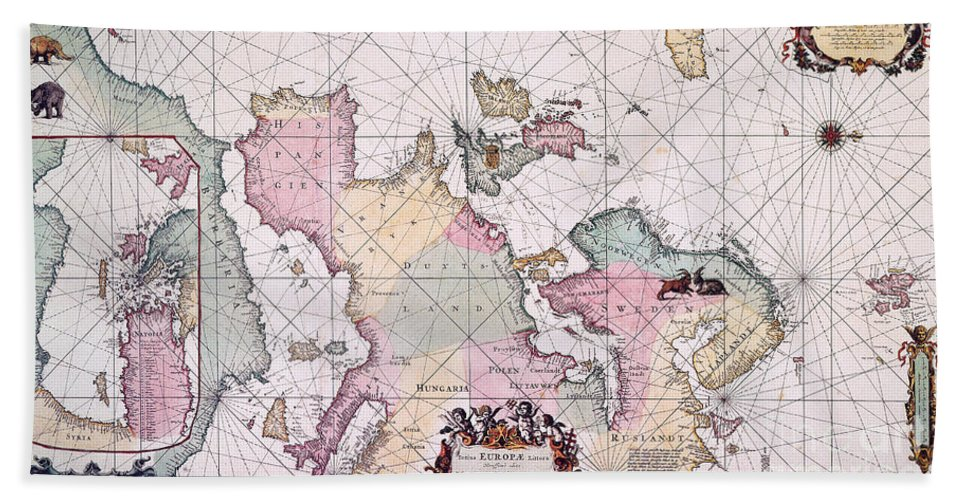 1715 Hand Towel featuring the painting Map: European Coasts, 1715 by Granger