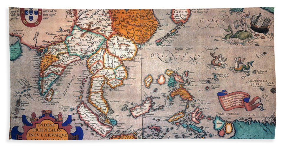 1595 Hand Towel featuring the painting Pacific Ocean/asia, 1595 by Granger