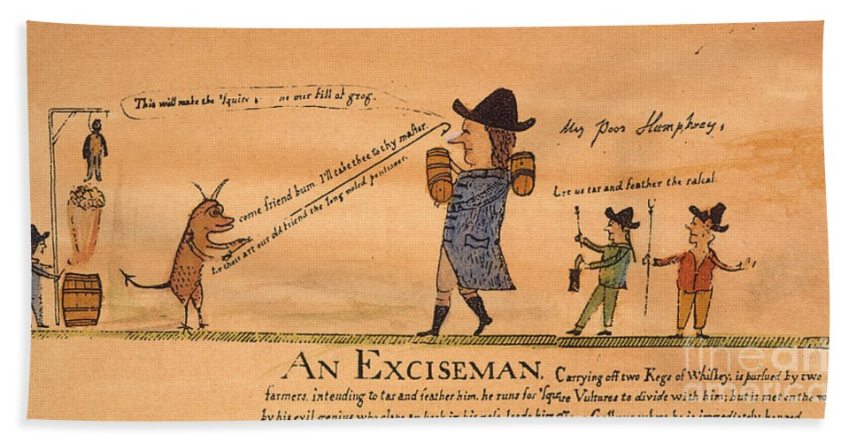1794 Hand Towel featuring the painting Cartoon: Whiskey Tax, 1794 by Granger