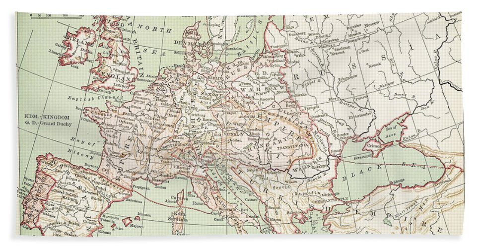 1810s Bath Sheet featuring the painting Map Of Europe, C1812 by Granger