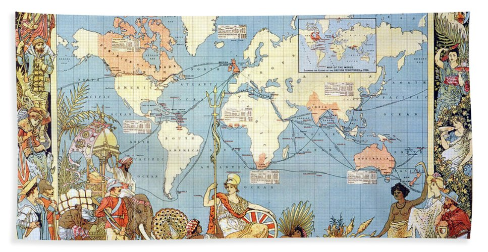 1886 Hand Towel featuring the painting Map: British Empire, 1886 by Granger