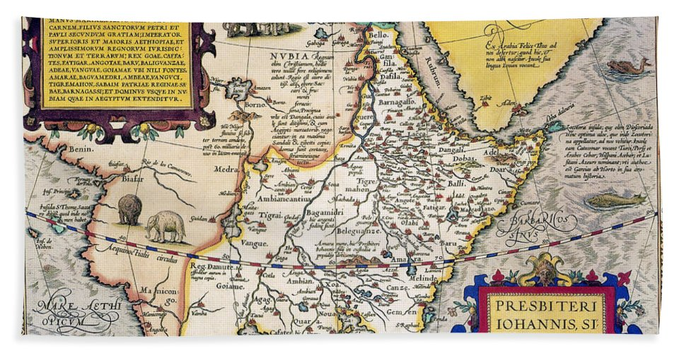 1595 Hand Towel featuring the painting African Map, 1595 by Granger