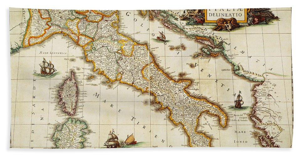 1631 Hand Towel featuring the painting Map Of Italy, 1631 by Granger