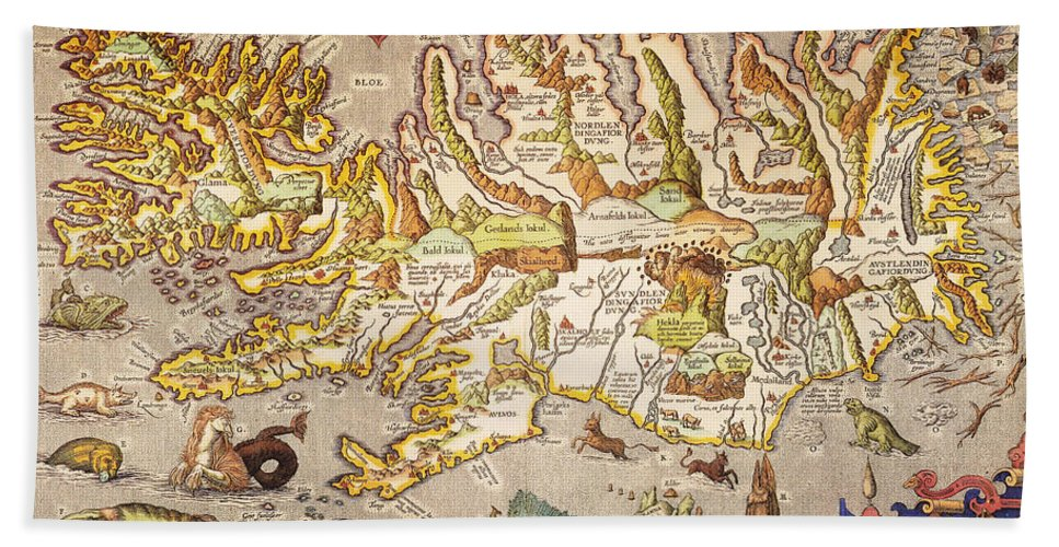1595 Hand Towel featuring the painting Iceland: Map, 1595 by Granger