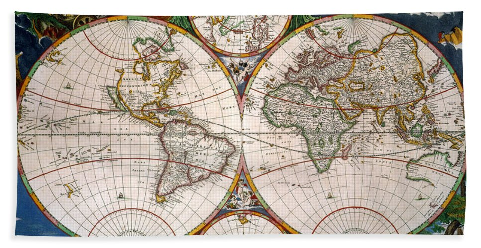 Aod Hand Towel featuring the painting World Map, 17th Century by Granger