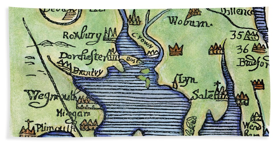 1677 Hand Towel featuring the painting New England Map 1677 by Granger